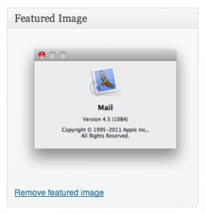 WordPress Editor Featured Image Selected