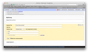Creating a form in Google Drive