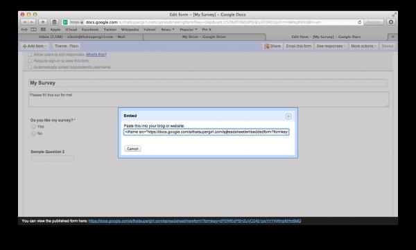 Google Drive Form Code