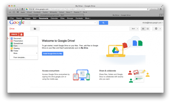 Create Form on Google Drive