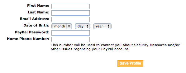PayPal Phishing Form