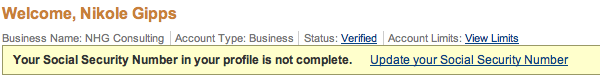 A real PayPal error message