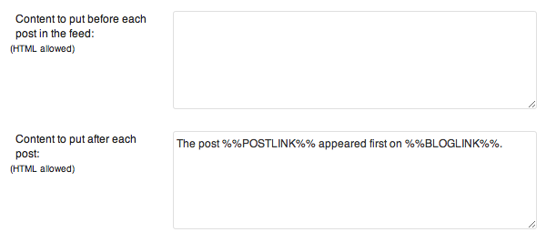 RSS Feed Header Footer Yoast WordPress SEO Plugin